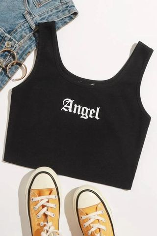 Angel Graphic Cropped Tank Top