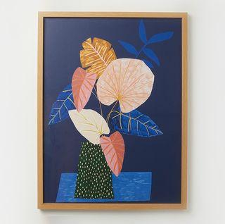 Iro Leaf Blue Framed Wall Art, Oliver Bonas, £98