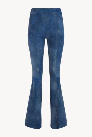 Blue Suede Patch Pockets Super Flare