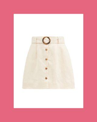 Belted High-Rise Linen Mini Skirt