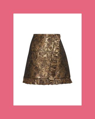 Goldena Wrap-Effect Brocade Mini Skirt