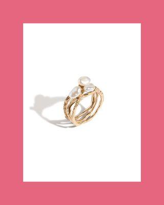 Venus Organic Pearl Tri Gold Ring
