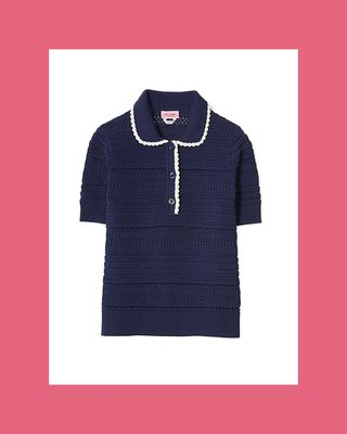 Short-Sleeve Knit Polo Sweater
