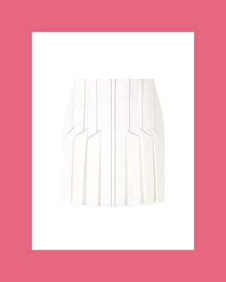 Contrast Stitching Pleated Skirt