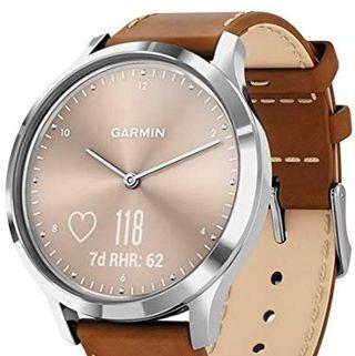 Garmin vivomove HR, reloj inteligente híbrido para hombres y mujeres, plateado con cuero italiano tostado
