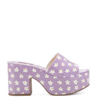 Miso Platform Sandal In Lavender Floral Patent Leather