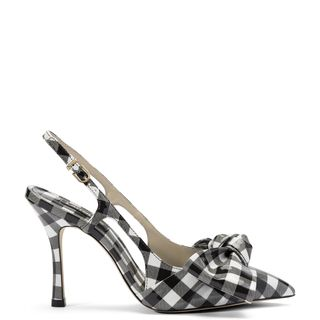 Elle Pump In Black and White Plaid Patent Leather