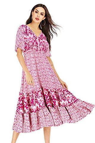 Short Sleeve V Neck Midi Dress