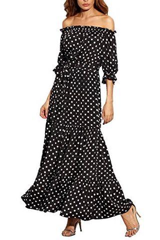 Off Shoulder Polka Dot Long Dress