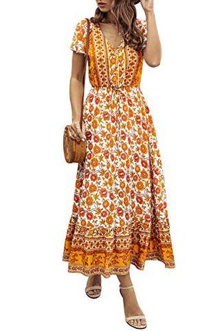 Bohemian Casual Short Sleeve Maxi Dress