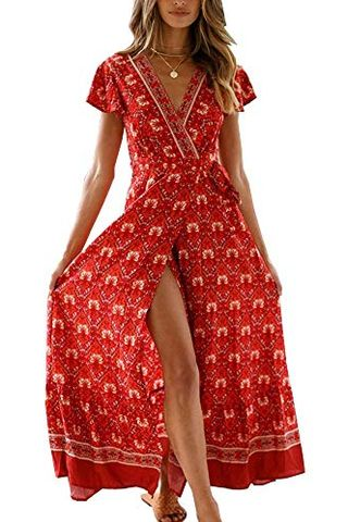 V Neck Wrap Vintage Dress