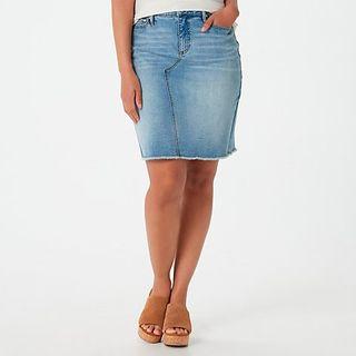Denim Skirt with Frayed Hem