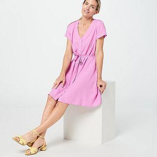Textured Woven V-Neck Dress