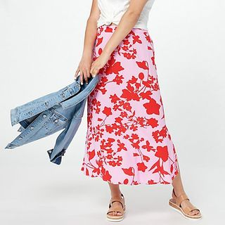 Printed Woven Pull-On Midi Skirt