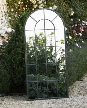 Large Black Metal Arched Garden Mirror