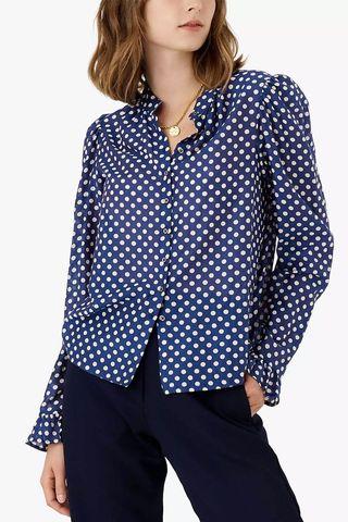 Brora Polka Silk Cotton Blouse, Navy/Multi