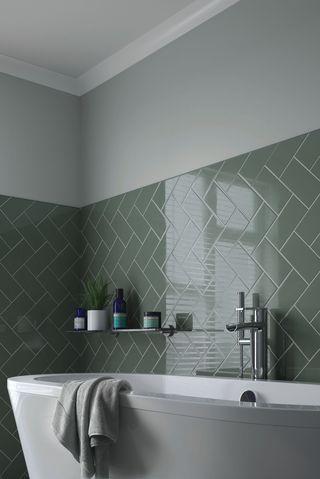 Cosmopolitan Sage Ceramic Tiles, Wickes, £11.99 (per SQM)