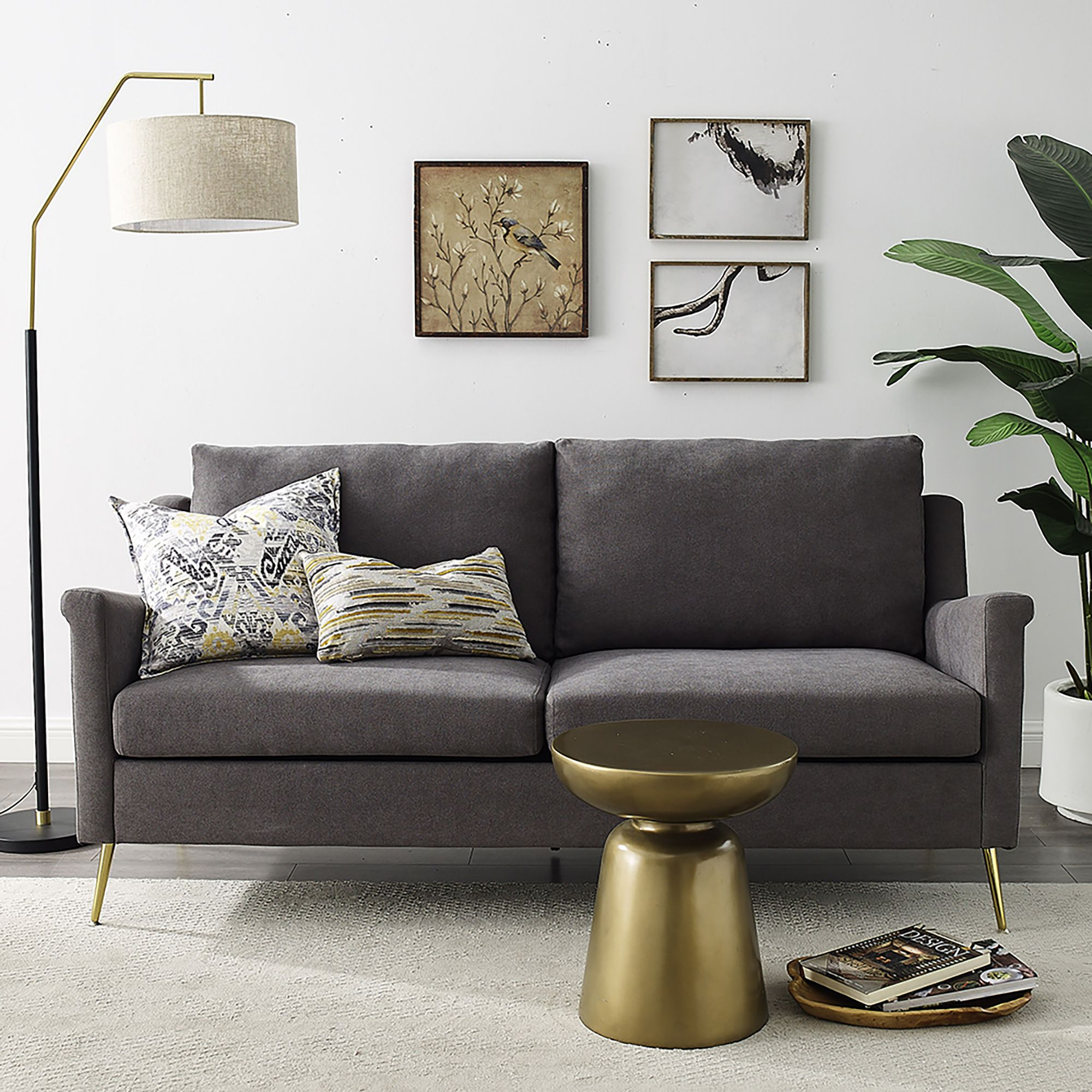 Apartment Sofa with Gold Legs