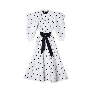 Dot Triangle Sleeve Knit Midi Dress