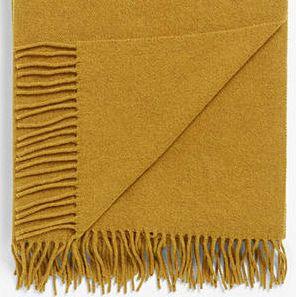 Plain Wool Throw - Mustard