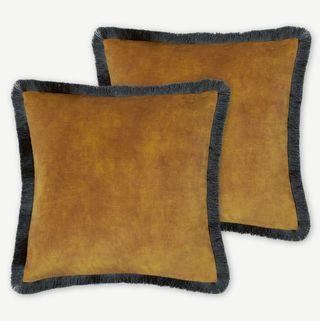 Kili Set of 2 Fringed Velvet Cushions