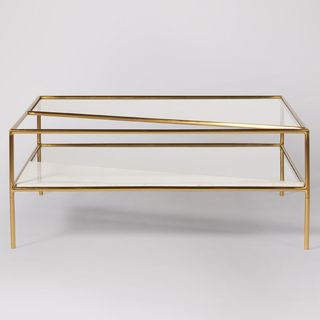 Simmonds Coffee Table, Brass & White Marble