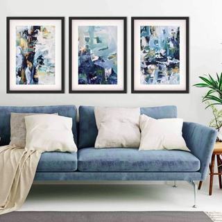 Textured Blue Abstract - Print Set Of 3