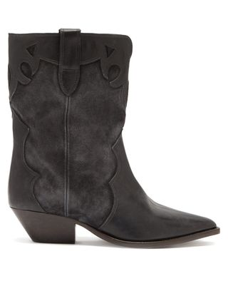 Leather and suede boots