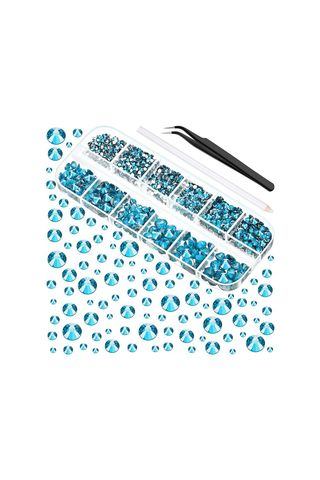 TecUnite Store 2000 Piece Flat Back Gems in Lake Blue