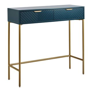 Trixie Two Drawer Console Desk Blue