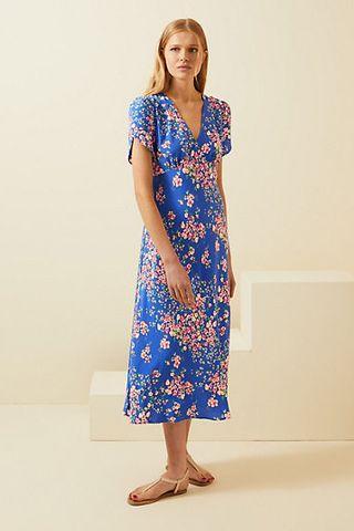 V-neck floral midi dress