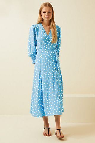 Mid-length polka-dot wrap dress