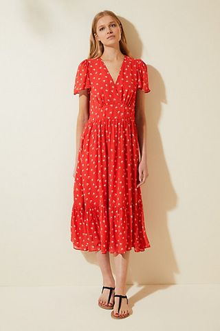 V-neck midi dress with heart print