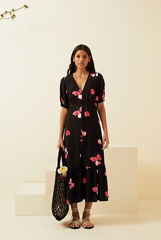 Floral V-Neck Button Up Midi Dress