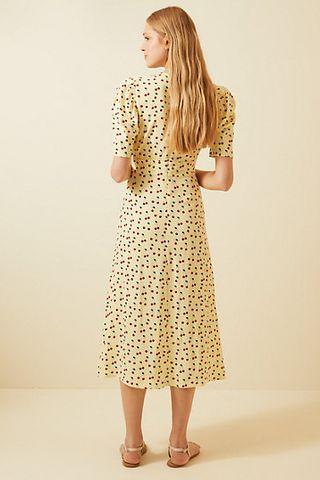 Buttoned Cherry Print Midi Dress
