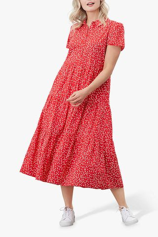 Sadie Spot Print Shirt Dress, Red