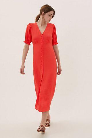 V-Neck Short Sleeve Midi Tea Dress