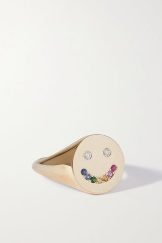 Rainbow Smiley 14-karat gold, sapphire and diamond ring