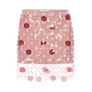 Floral paillette miniskirt