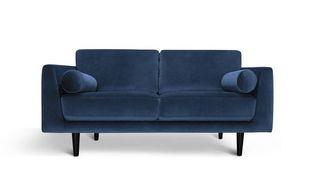 Habitat Jackson 3 Seater Velvet Sofa - Blue