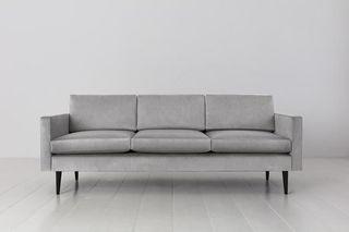 Model 01 Velvet 3 Seater Sofa Light Grey