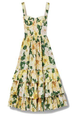 Tiered Floral-Print Cotton-Poplin Midi Dress