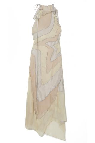 Asymmetric Paneled Silk-Habotai Maxi Dress
