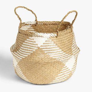 John Lewis & Partners White Pattern Seagrass Basket
