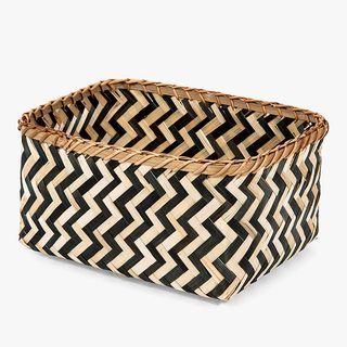 Compactor Zebra Storage Basket, Black / Natural, Large