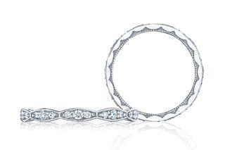 Diamond and Platinum Sculpted Crescent Ring
