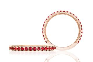 Ruby and 18K Rose Gold Sculpted Crescent Ring