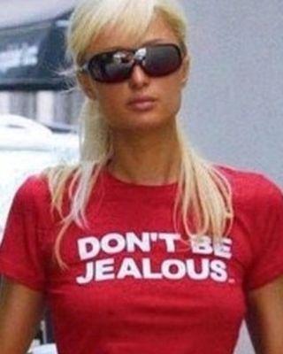 "Paris Hilton Early 2000s Slogan ""Don't Be Jealous"" Shirt"