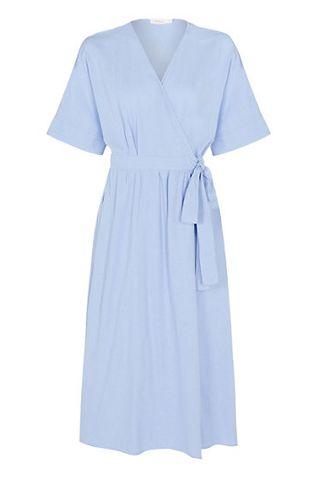 V-neck linen wrap midi wrap dress with tie, M&S, £ 79