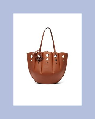 Shell Perforated Leather Tote Bag